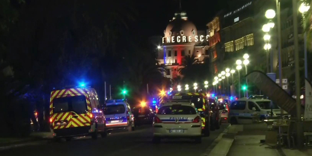 Emergency services at the scene of the attack in Nice.