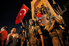 Turkish soldiers in Istanbul's Taksim square. Photo / AP