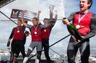 New Zealand sail racing team, from left, skipper Phil Robertson, bow James Wierzbowski, trimmer Stewart Dodson and mainsheet/tactics William Tiller. Photo / AP.
