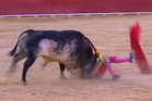 Matador Victor Barrio being gored by Lorenzo the bull at the Teruel bullring.