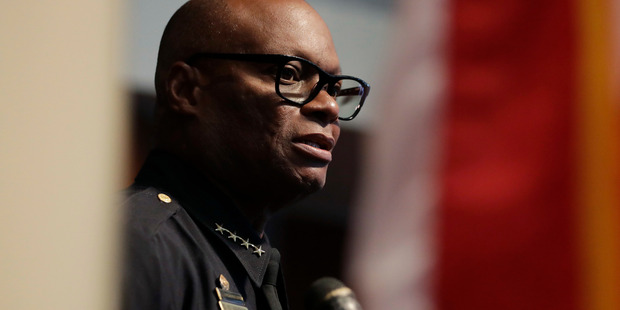 Loading Dallas Police Chief David Brown briefs the media about the shootings in Dallas. While the twittersphere would love him as America's next president, he received death threats just after the slayings of his five police officers. Photo / AP