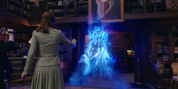 The Ghostbusters take on Gertrude the Ghost (Bess Rous) of Aldridge Mansion. Photo / Supplied