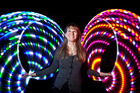 Grace Raven with her American imported LED hula hoops at the IlluminART festival in Greerton, Tauranga. 10 July 2015 . Photo/Andrew Warner