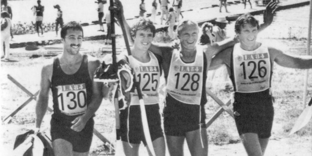 The New Zealand K-4 1000m crew back on shore after their 1984 Olympic win. From left, Alan Thompson, Grant Bramwell, Paul McDonald and Ian Ferguson. Photo / Ross Land
