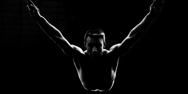New Zealand trampolinist Dylan Schmidt during a training session. Photo / Brett Phibbs