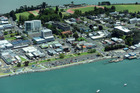 Aerial shot of the Tauranga waterfront and Central Business District.