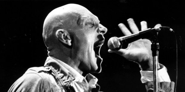 Peter Garrett on stage in Auckland in 1988 (Herald archive).
