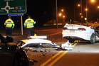 SERIOUS: Emergency services assist at last night's serious crash on the expressway. PHOTO PAUL TAYLOR