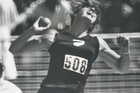 New Zealand shot put athlete Val Young competing in the 1974 Commonwealth Games in 1974. New Zealand Herald Archive.