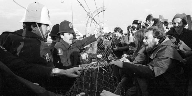 Anti Springbok tour protesters at Auckland International Airport protesting the arrival of the South African rugby team in 1981. Photo / File, NZ Herald Archive