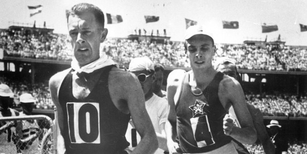 Norman Read, left, entered the Melbourne Cricket Ground to rapturous applause from 117,000 spectators on his way to winning gold at the 1956 Olympics. Photo / NZH Archive