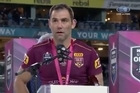 Several NSW players turned their back on the Queensland captain as he was addressing the crowd during the official post-match Origin Shield-presentation ceremony at ANZ Stadium.