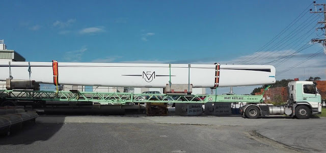 The M5's 28m boom being delivered to Hall Spars & Rigging NZ.
