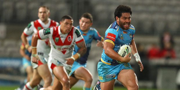 Konrad Hurrell of the Titans makes a break during the round 19 NRL match between the St George Illawarra Dragons and the Gold Coast Titans. Photo / Getty Images.