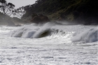 For a week, three-metre high waves have been breaking well offshore, such as this view of breakers between the headlands at Matapouri.