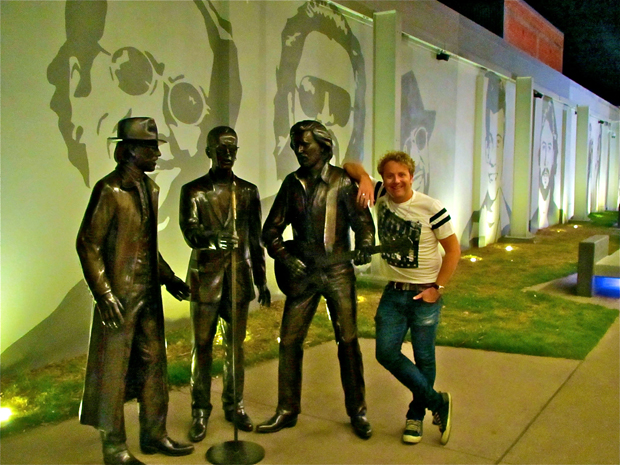 Bee Gees fan Tim Roxborogh makes a pilgrimage to Bee Gees Way in Redcliffe, Queensland. Photo /  Tim Roxborogh