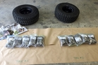 STYMIED: The cannabis seized in Kaitaia last week, and the tyres it was concealed in. PICTURE/NZ POLICE