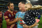 Cameron Smith of the Maroons and Paul Gallen of the Blues embrace after game three of the State Of Origin series. Photo / Getty