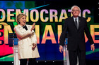 Democratic presidential candidates Hillary Clinton and Bernie Sanders appear on stage in Brooklyn in April. Photo / Washington Post