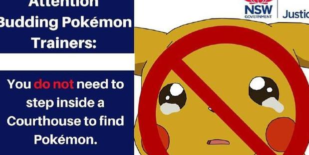 Pikachu is not welcome in NSW courts. Photo / Facebook