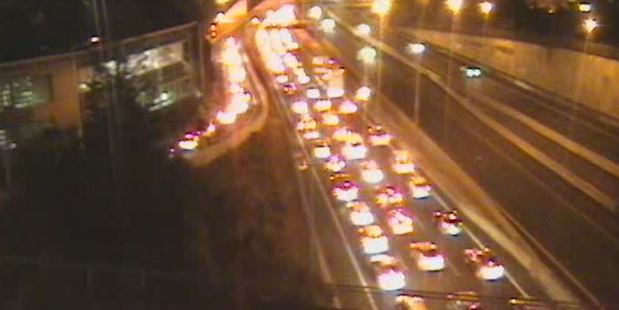 A crash is blocking two lanes northbound on the Northern Motorway after Victoria Park Tunnel. This image is of Wellington St, looking north. Photo / NZTA