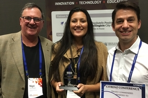 NorthTec STEM project team leader Nigel Studdart, and research educators Temakwan Fenton-Coyne and Luke Tomes have won an award for a project which has established coding clubs at a Whangarei marae and school.