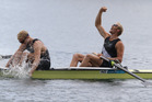 New Zealand rowing Men's Pair of Hamish Bond and Eric Murray celebrate after winning gold in London. Photo / Brett Phibbs