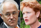 Prime Minister Malcolm Turnbull and Pauline Hanson. Photos / Getty Images