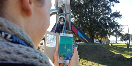 The iconic Memorial Park Rocket Slide is a popular Pokemon Gym, where trainers can fight and train their Pokemon. PHOTO/ALLISON HESS