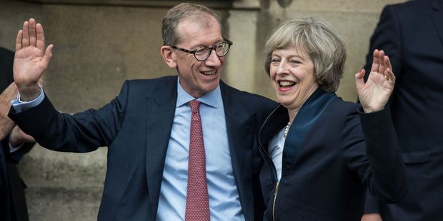 Britain's new Conservative Party leader Theresa May and her husband Philip John May. Photo / AP
