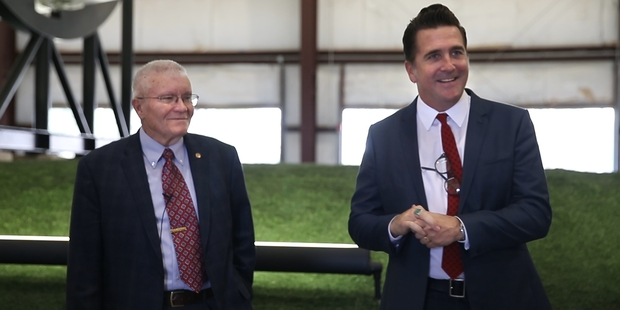 Fred Haise with Adam Steltzner of NASA's Jet Propulsion Laboratory. Photo / Nick Reed