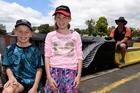 Sam and Chloe Boeyen , both 9, enjoyed the model trains. Photo / George Novak