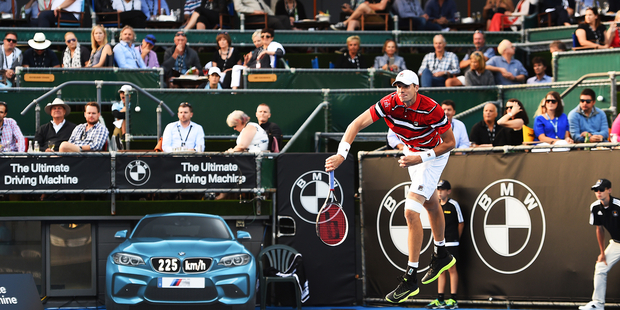 American John Isner serves at 225km/h during day three of the 2016 ASB Classic. Photo / photosport.nz