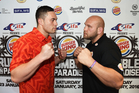 Joseph Parker faces off against Jason Bergman ahead of the pair's bout in Samoa. Photo / photosport.nz