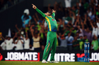 Shahid Afridi celebrates the wicket of Grant Elliott during Pakistan's win. Photo / photosport.nz