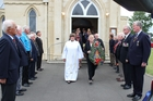 Members of the RSA were the guard of honour as Harry Carver's casket was carried from St John's Anglican Church on Tuesday afternoon. Photo / Christine McKay