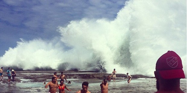 Social media accounts captured images of the wave crashing over the pools. Photo / Instagram.