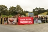 About 40 people protested outside the Mid Northern Rodeo at Maungatapere.
