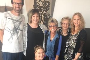 Rose's staff: Nigel Houghton (left), Kellie McKay, Rose Evans, Elva Lockyer and Jenny Bolton, with Kate Jensen in front. Photo / Christine McKay