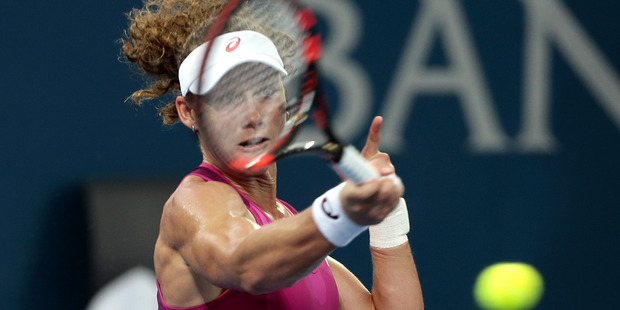Samantha Stosur shows off the power of her arms in the Brisbane International. Photo / AP