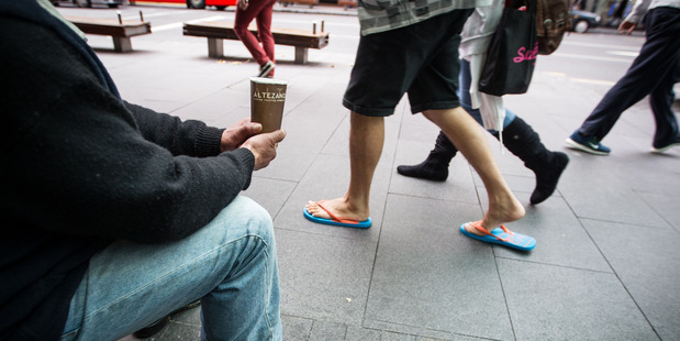 James had been given $1.60 in two hours begging on Queen St. Photo / Michael Craig