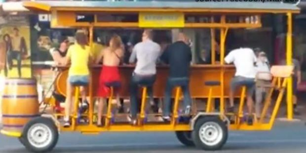 Loading Video of the beer bike. Photo: Facebook/ Mat Coll