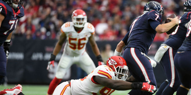 Houston quarterback Brian Hoyer was under pressure all day by the Kansas City Chiefs defence. Photo / AP