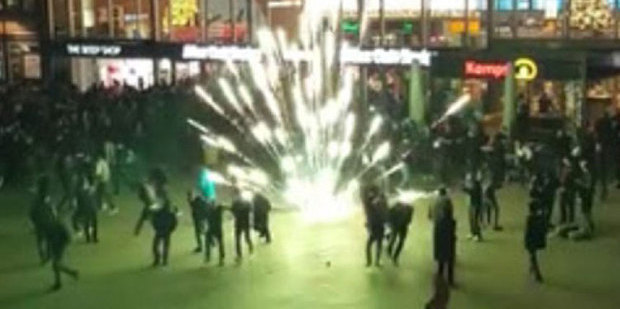 Fireworks outside Cologne station. Police said about 1000 men took over the area on New Year's Eve.
