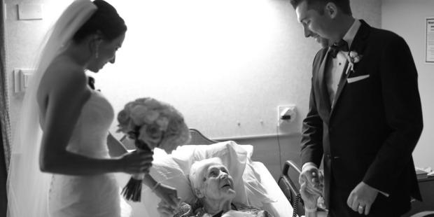 Newlyweds Brian and Lauren Kurtulik pay a special visit to Brian's grandmother. Photo / Rachel Nolan