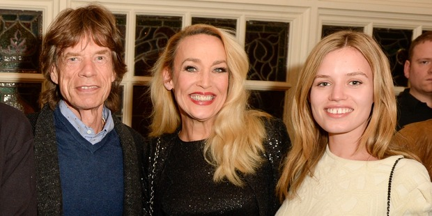 Hall with her ex Mick Jagger and their daughter Georgia May Jagger in 2014. Photo / Getty Images