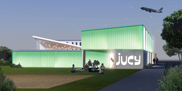 Construction has begun on a Jucy Snooze hotel next to Christchurch Airport that will feature the option for people to sleep in pods. Photo / Jucy