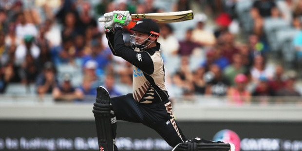 Colin Munro of the Black Caps plays the ball away for six runs during the Twenty20 International match between New Zealand and Sri Lanka at Eden Park. Photo / Getty Images