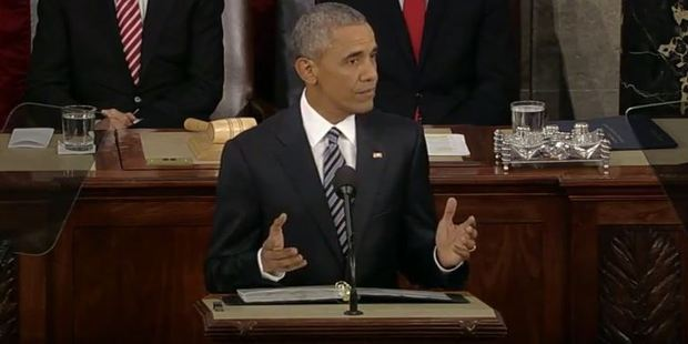 Barack Obama delivers his last State of the Union speech. Photo / YouTube