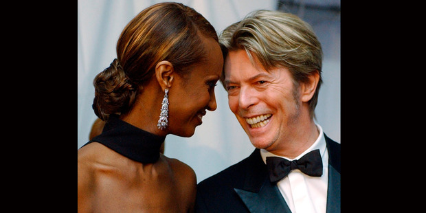 Iman and her husband, singer David Bowie arrive at the Council of Fashion Designers of America Fashion Awards in New York in 2002. Photo / AP